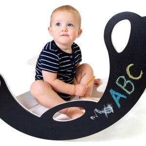 handmade wooden rocking toy with blackboard for toddlers - Schaukeltier Birdie für Kleinkinder mit Schreibtafel