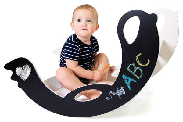 handmade wooden rocking toy with blackboard