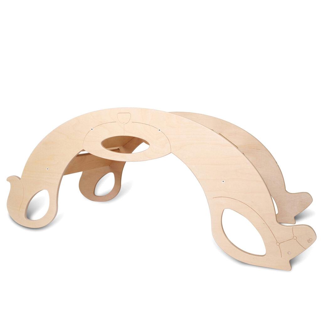 Montessori Rocker Horse Natural - Montessori Schaukelpferd Naturholz als Kletterbogen