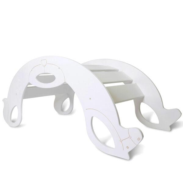 rocking horse white - Holzschaukelpferd weiss als Kletterbogen