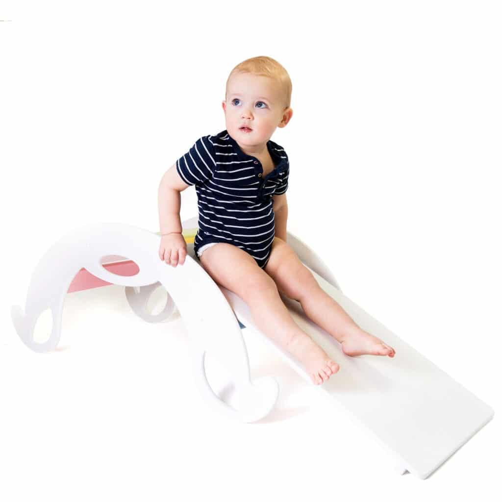 white slide board for kids - Rutschbrett Holz weiss für Nobsi Kletterbögen