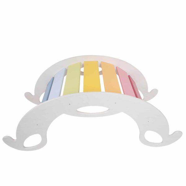rocking toy for toddler rainbow, white - Schaukelelefant Jumbo Regenbogen, Seiten weiss