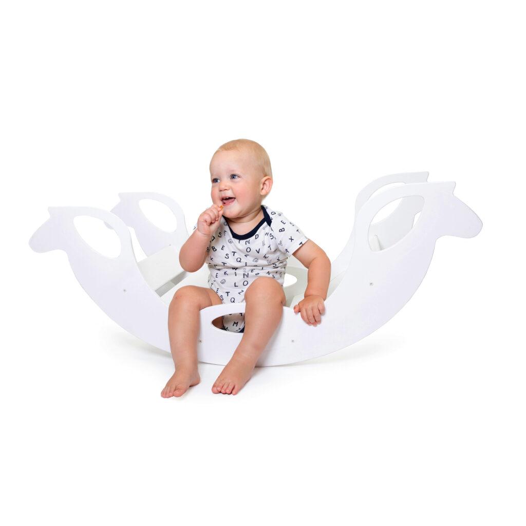 White Wooden Horse Rocker - Schaukelpferd weiss für Babys