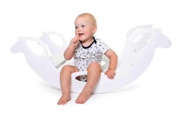 rocking horse white - Holz-Schaukelpferd weiss für Babys