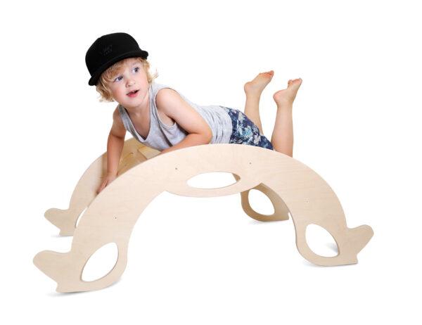 Montessori Rocker Horse Natural - Montessori Schaukelpferd & Kletterbogen aus Naturholz