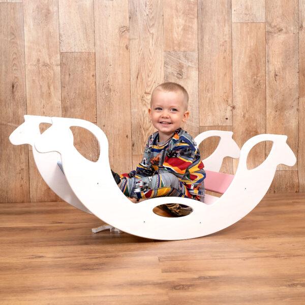 Montessori Rocker Horse Natural - Montessori Holzschaukelpferd Naturholz für Kleinkinder
