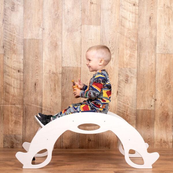 Montessori Rocker Horse Natural - Schaukelpferd Naturholz als Kletterbogen
