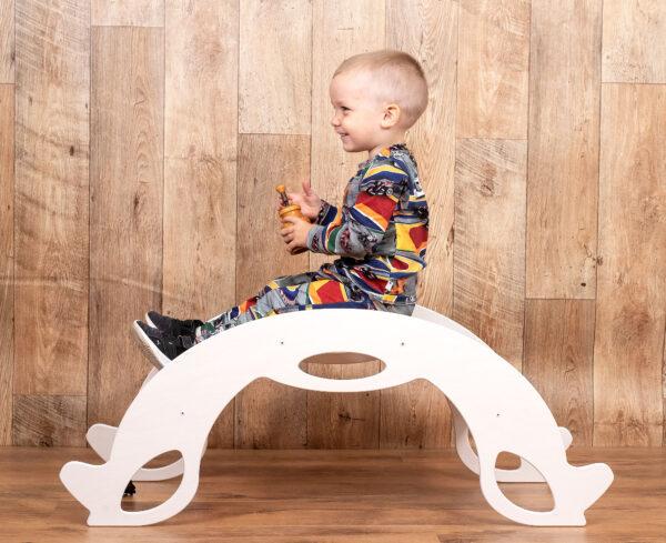 rocker toy birdie white - Holz-Schaukelpferd & Kletterbogen weiss für Baby und Kleinkind