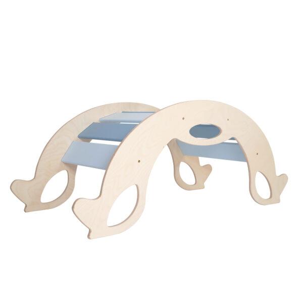 Blue Wooden Horse Rocker - Holzschaukelpferd & Kletterbogen blau für Babys